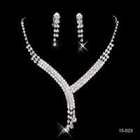 150-23 Sparkly Silver sets noiva concurso de casamento strass colar de brincos de jóias conjuntos para jóias nupciais partidárias
