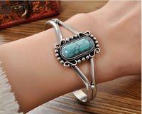 Lyxig smycken 925 Silverpläterad Justerbar Öppning Turkos Bella Bracelets Present