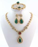 Venta caliente a estrenar African Traje Joyería Juego de joyas de oro 18k Collar de novia de moda Collar de bridales Pendientes Anillo