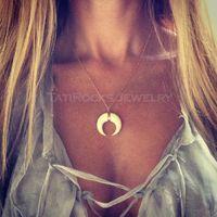 Miage Boho Oro / Plata Color de Imitación de Marfil Luna Colgante Collar de Cadena de Clavícula Mujeres Joyería de Moda Accesorio