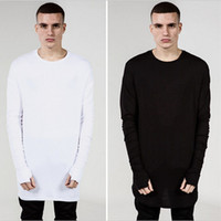 Wholesale- Fashion Mens Extended Tee Long Sleeve Oversized H...