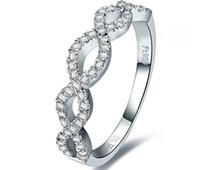 Alta qualità 0.55CT garanzia di qualità argento sterling bianco oro colore semi anello di fidanzamento 925 donne di marca regalo di compleanno