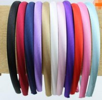 60pcs hot sale 8mm solid satin fabric plastic headbands DIY ...