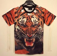 W151212 [Mikeal] New Fashion 3D t-shirt da uomo divertente stampato animali Roar Fierce Mighty tigre top tees Tshirt DT24