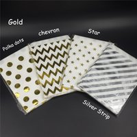 Chevron Gold Foil Bags Bags Lunares Gold Candy Bags Favores de boda / Goody Bags / Printed Paper Treat Bags / Birthday Party Sacks
