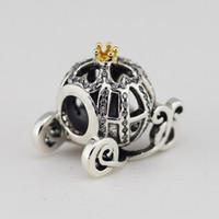 2015 Yeni 925 Ayar Gümüş 14 K Gerçek Altın Külkedisi Kabak Charm Boncuk Avrupa Pandora Takı Bilezikler Kolye Kolye Uyar