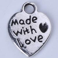 FEITO COM AMOR Coração Amor Pingente de Prata Antigo / encantos de bronze Fit Pulseiras ou Colar de Jóias DIY 750 pçs / lote 1324z
