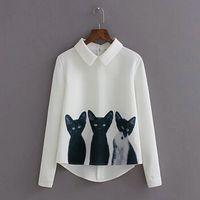 Женская мода блузка 3D кошка печатных пуловер рубашка отворот шеи с длинным рукавом белый топ повседневная Леди Blusas корейский стиль повседневная блузки