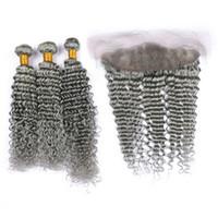 Splitter grau ohr zu ohr frontal mit tiefe welle haarverlängerung 4pcs / lot peruanischen tief lockige graue haar 3 Bundles mit top verschluss