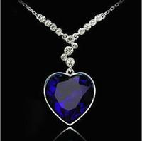 Роскошный австрийский хрусталь Титаник Любовь сердца Алмаз ожерелье женщины колье темно-синий День святого Валентина подарок