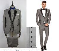 사용자 정의 회색 남성 정장 신랑 / 신랑 들러리 댄스 파티에 대한 검은 옷깃 슬림 맞는 결혼식 정장 (자켓 + 바지 + 조끼 + 보우 타이)