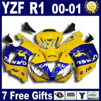 Kit de cuerpo amarillo de CAMEL para los kits de carenado YAMAHA 2000 2001 YZF R1 yzf1000 00 01 carenados conjunto de carenado U7W + 7 regalos