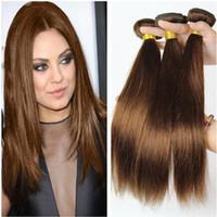 최고 품질의 말레이시아 사람의 머리카락 # 4 중간 갈색 인간의 머리카락 Wefts 확장 초콜릿 브라운 말레이시아 헤어 위브 번들 더블 Wefts