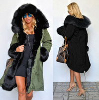 도매 - 새 겨울 코트 여성 재킷 진짜 큰 너구리 모피 칼라 두꺼운 면화 패딩 라이닝 파커 아래 플러스 사이즈 S-2XL