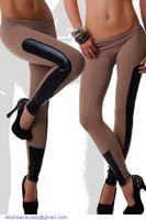 Sport Kontrasthose für Frauen Seite Kunstleder-Besatz Schwarz Stretch Fitness Leggings schlank Jegging LC79538 Liebhaber