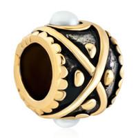 Personalisierte Frauen Schmuck europäischen Stil Trommel geformt Pearl Evil Eye Metall Spacer Bead Glücksbringer passt Pandora Bettelarmband