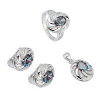 925 Sterling Silber Förderung Herz Set (Ring / Ohrring / Anhänger) Noble großzügige S-3731Set SSZ # 6 7 8 9 Rainbow Feuer Mystische Zirkonia Punk