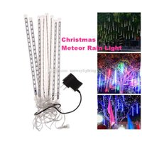 wholesale meteor christmas lights outdoor decoration waterproof blue white rgb snowfall rain led shower light tubes eu us uk au plug - Snowfall Christmas Lights