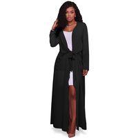 Wholesale-2017 جديد أزياء خندق معطف للمرأة زائد حجم الصيف الشيفون خندق النساء سترة عارضة طويلة المنفضة خندق معطف الإناث