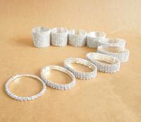 أزياء حجر الراين أساور سيدة فتاة مجوهرات حجر الراين السويسري الإسورة مرنة 1 ~ 10 صفوف للاختيار