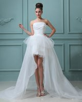 Lace Appliques Beaded Ball Gown Wedding Dresses 2015 Strapless High Low Beach Bridal Gowns A Line Tulle Wedding Wear