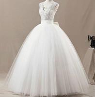 Vestidos de novia reales de la imagen real 2015 Applique Sheer Bow Beads Tul de encaje vestido de novia Vestidos de novia Vestidos de novia por encargo