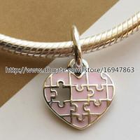 100% S925 Plata de ley Jigsaw Heart Dangle Charm Bead con Esmalte Rosa Se adapta al estilo Pandora Europeo Joyería Pulseras Collares Colgante