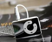 Espejo Mini Clip MP3 Reproductor de Música C Forma de Soporte Ranura Para Tarjeta Micro SD TF Con Auriculares Cable USB Caja Al Por Menor Envío Gratis