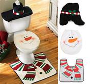 Süße Weihnachten Schneemann Toilettenbehälter Deckel Deckel Matten Toilette Sitzbezug + Teppich Badezimmer 4 Set Urlaub Neujahr Liefert Kugeln Dekoration