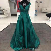 Soirée élégante robes longues 2020 neuf de haute qualité en satin vert émeraude encolure en V pas cher longue partie formelle Robes 181