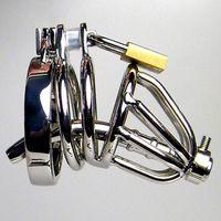 Dispositivo di castità maschile Anello di cazzo in acciaio inox con suoni uretrali Plug di pene Fetish Hook Hook Bondage Gear Sex Toy Cage