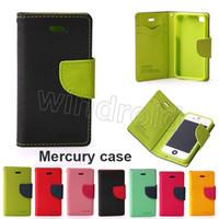 Mercury Wallet Stand de cuero PU TPU caja híbrida Folio Flip Cover para todos los teléfonos iPhone 6 Plus 5 5S Galaxy S3 S4 S5 S6 Edge Envío gratis