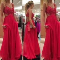 2019 Vestidos de fiesta rojos Correas de espagueti Sin espalda Gasa A-line Moda Bodas festivas Vestidos de fiesta para invitados por la noche a medida