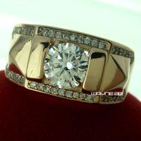 حجم Q-Z + 5 مجوهرات مطلية بالذهب عيار 18 قيراط رجالي توباز خاتم هدية R245