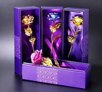Banhado a ouro 24 K rosa flor Dia dos Namorados presente de aniversário noiva buquê de casamento de ouro azul vermelho com bolsa roxa + caixa de transporte da gota