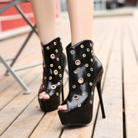 15cm 2016 spring summer hollow out peep toe boots women ultr...