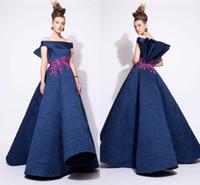 Abiti da sera pizzo 2016 fuori dalla spalla ricamo Azzi e Osta Ball Gown Prom Dresses A Line Modest Design Celebrity Abiti da sera