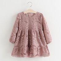 Kızlar Dantel Elbiseler 2019 İlkbahar Sonbahar Kız bebekler Çiçek Nakış Elbise Çocuk Tam Kol Tutu Elbise Çocuk Toptan Giyim
