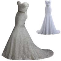 2016 полный шнурок Русалка Свадебные платья дешевые Милая Pleats Кристалл бисера Sash более 100 зашнуровать назад Sexy Свадебные платья в наличии