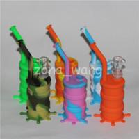 Portable Hookah Silicon Barrel Rigs para Fumar Erva Seca Inquebrável Água Percolator Bong Fumar Óleo Concentrado Rigs Tubo