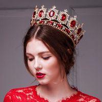 복고풍 왕관 크라운 헤어 액세서리 큰 유럽 로얄 크라운 황금 크라운 머리 모방 루비 보석 웨딩 티아라 크라운 할로윈