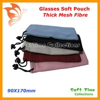 Wholesale-20pcs Thick Mesh Fibre Soft Sunglass Glasses Eyeglass Spectacle MP4 Cellphone Mobile Watch Case Pouch Bag CP031 free shipping