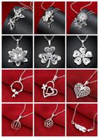 Mix stil 5 adet / grup 925 gümüş kolye kristal kalp fener bambu krizantem erik çiçeği yonca kolye çekicilik kolye