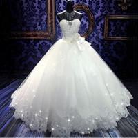 Haute Qualité Réelle Bling Bling Bling Cristal Robes De Mariée Dos Bandage Tulle Approbat Tulle Longueur De Mariage Robes De Mariage