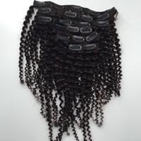 neue Art brasilianisches reines lockiges Haar Schussclip in verworrene Wellung webt nicht verarbeitete natürliche schwarze Farbe menschliche Erweiterungen sein können gefärbt 7pcs 1set