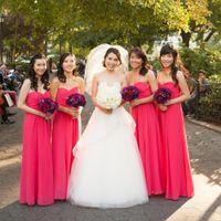 Imagen real 2015 novias Vestidos de sirvientas con escote sexy con pliegues cariño Una línea de imperio Longitud del piso Gasa Vestidos de damas de honor