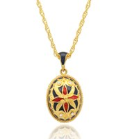 Enameled Faberge Egg Pendant Equinox Flower Easter Egg for Russian Style Necklace with Crystal and Gold Plated Chain