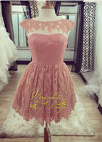 Lovely Pink Lace Homecoming Abiti Bateau Neck A-Line senza maniche con Appliques Perle Zipper Torna 2016 Short Party Gowns Custom