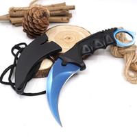 CS GO Karambit Knife 플라스틱 고정 블레이드 나이프 카운터 스트라이크 전술 발톱 나이프 서바이벌 캠핑 EDC 멀티 도구