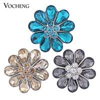 VOCHENG Нуса 18 мм имбирь щелкает 3 цвета Кристалл цветок Оснастки кнопка выводы взаимозаменяемые Оснастки ювелирные изделия (Vn-674)